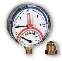 Термоманометр Watts TMAX 80mm 0-10 bar / 0-120 ° С нижняя резьба интернет магазин