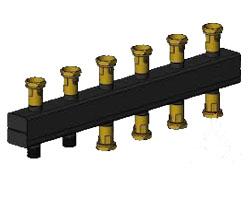 Распределительный коллектор на 5 отопительных контуров ОКС-3-5-125-ШК с накидной гайкой и шаровым краном интернет магазин